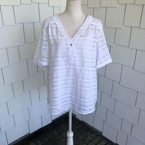 Alfani White Printed Short Sleeve V-neck Top Sz L